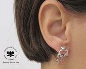 Frog Earrings Front back earrings Frog ear jacket Toad earrings Silver Double sided Frog studs Frog jewelry 3d frog Two piece Earrings