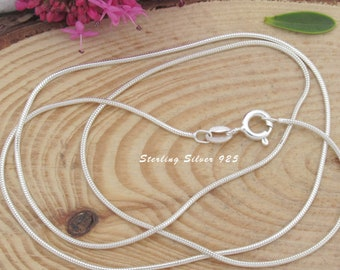 Sterling Silver Snake Chain, 1mm thick round 925 Silver Snake chain, Italian necklace chains for pendants & charms, nickel free