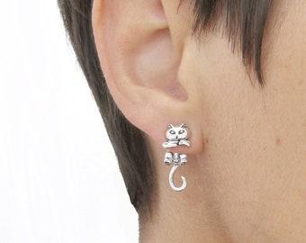 Elegant Antique Silver Mermaid Kitty Earring