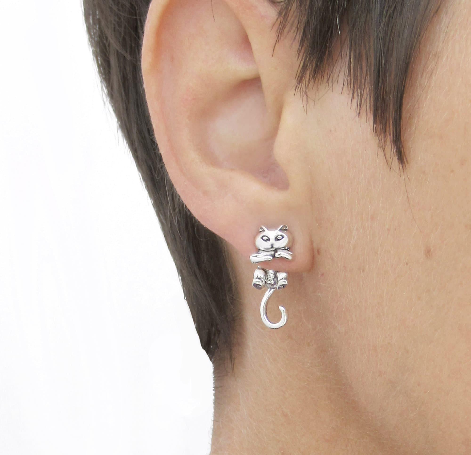 51b94d8133053 Silver Cat studs Cat Earrings Double sided stud earrings Cat Ear Jacket Cat  jewelry Cat Mum gift Front back earrings Two piece cat studs