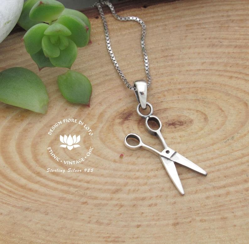 925 sterling silver scissors necklace pendant scissors earrings hairdresser
