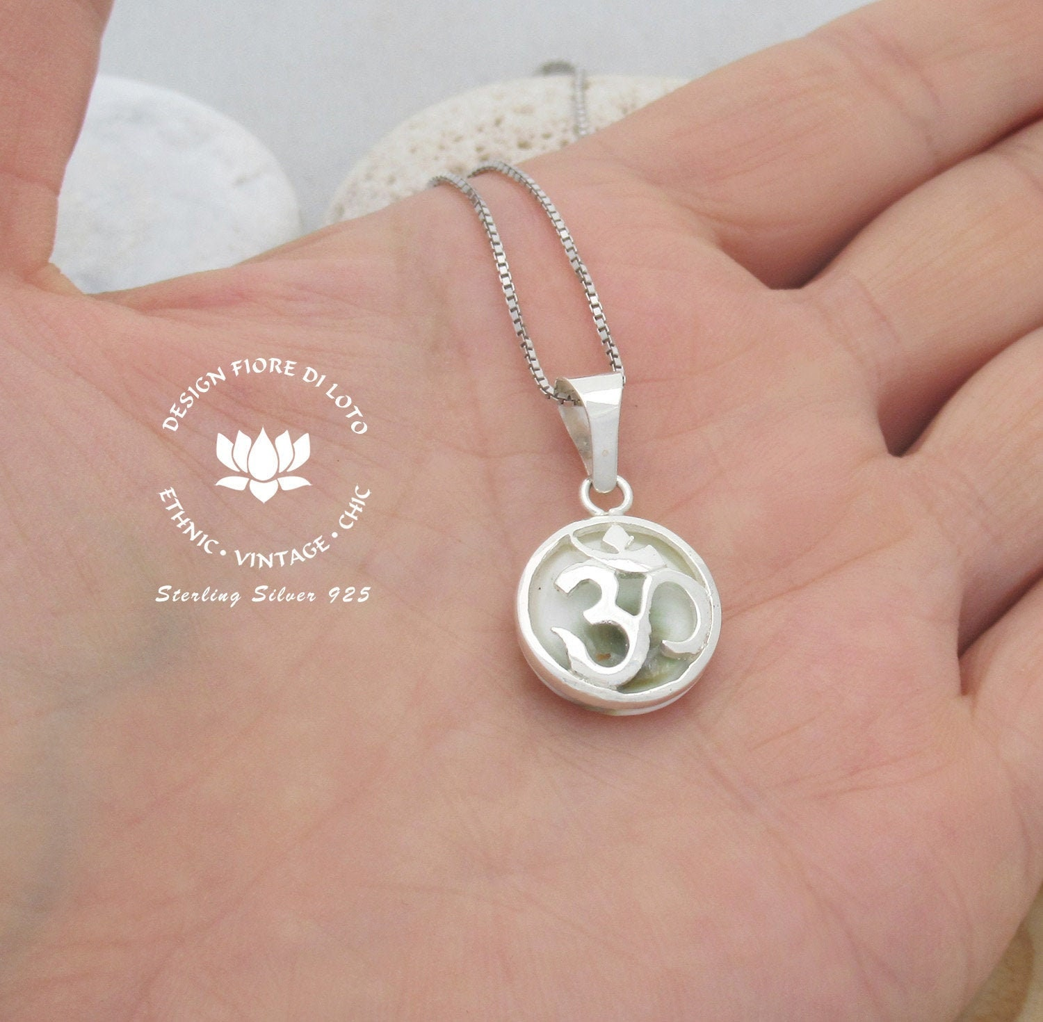 Yoga Necklace Long Necklace Long Sterling Silver Beaded Necklace Om Necklace