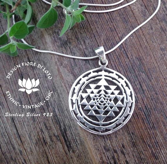925 Sterling Silver Shree Yantra Earrings Pattern Handmade Jewellery Spiritual