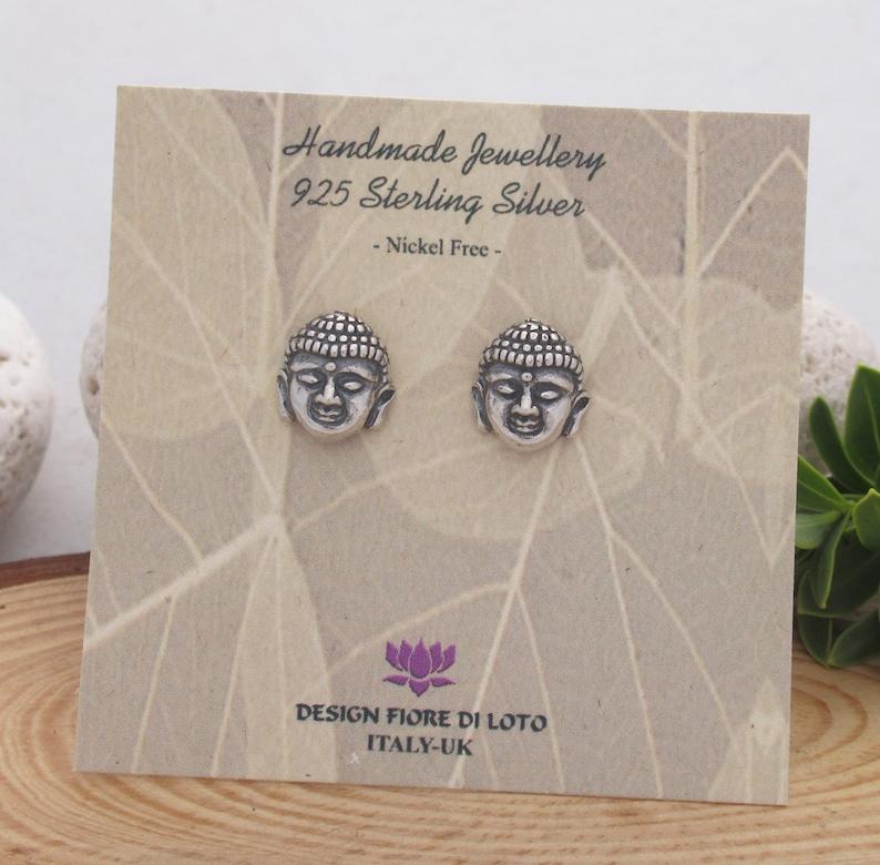 Silver Buddha Head Studs Buddha Earrings Buddha Jewelry Spiritual Earrings Buddhist Earrings Yoga stud Earrings Ethnic Jewelry Buddhism Gift