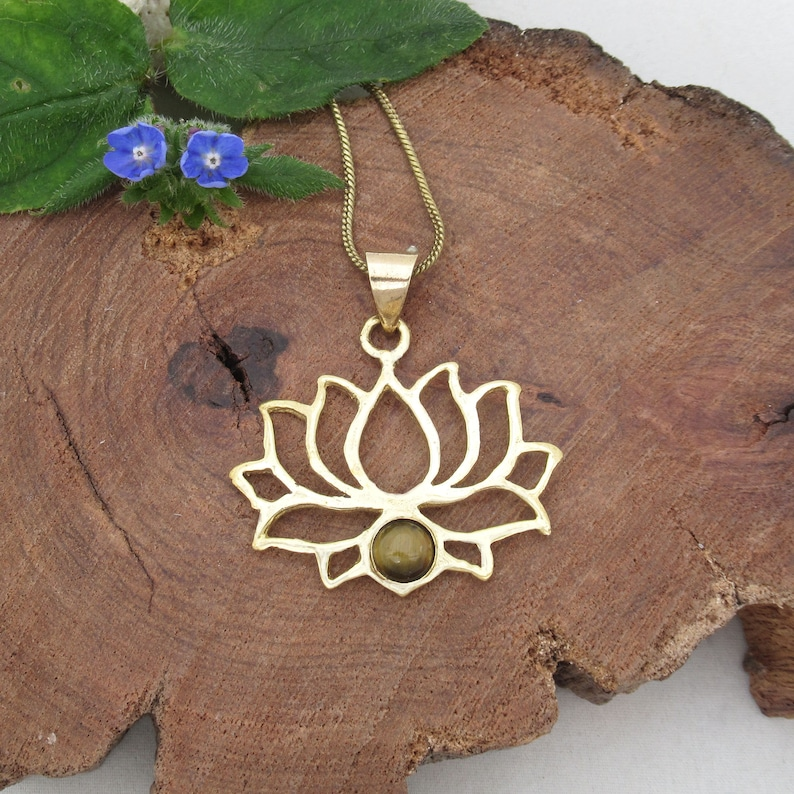 Meaningful jewelry Yoga lover gift Golden Lotus necklace Tiger/'s eye Lotus brass necklace