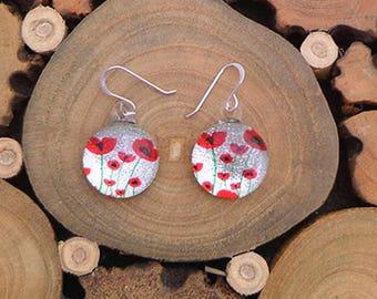 Glass Earrings Poppy Earrings Red Poppy Jewellery Flower earrings Poppy jewelry Wedding Jewelry fused glass earrings teardrop earrings