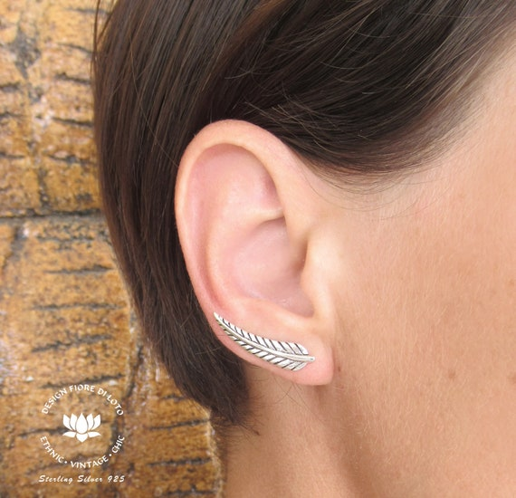 free gift bag Feather Stud Earrings 925 sterling silver
