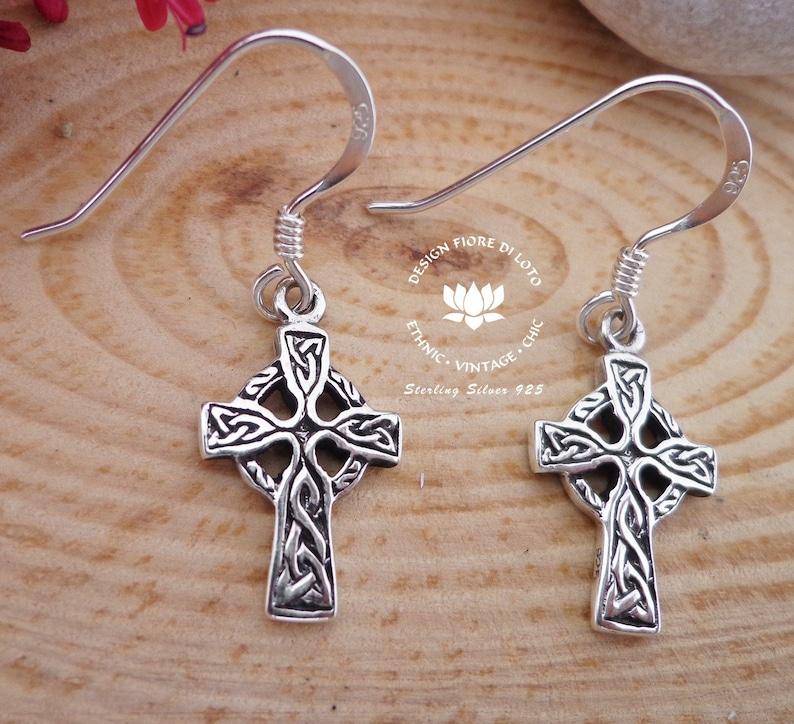 f05c4a306 Celtic cross earrings Sterling Silver Cross jewelry Spiritual | Etsy
