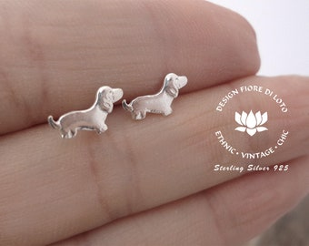 Sterling Silver Dachshund Studs Dog Lovers Dog Jewellery Small Dog Studs Sausage dog English Badger Dog Teckel Dog Earrings Dog Person