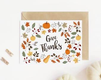 Thanksgiving card printable, Thanksgiving cards, Give thanks card, Printable card,  Thanksgiving card digital, Fall card