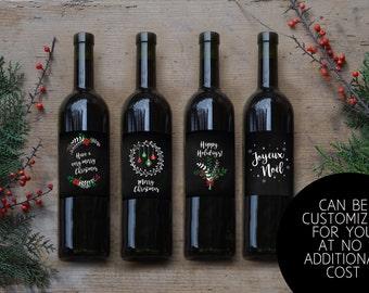 Christmas Wine Labels Printable, Set of 4, Custom wine labels, Christmas Printable