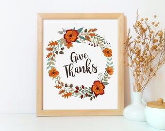 Thanksgiving printable, Give thanks wall art, Give thanks, Thanksgiving decor printable, Thanksgiving art, Fall decor, Fall printable