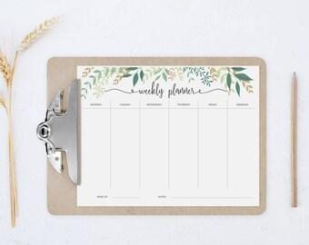 printable weekly planner botanical weekly planner printable planner 2018 weekly plan week planner weekly agenda week organizer