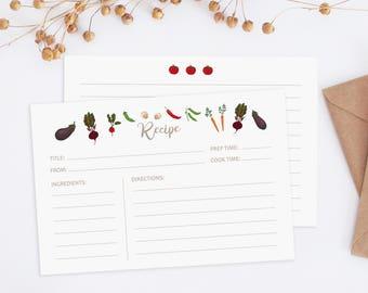 Printable recipe card, 4x6 recipe card, recipe cards, illustrated vegetables recipe card, recipe cards 4x6, recipe cards printable