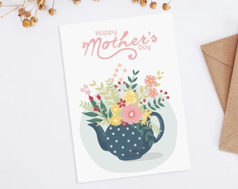 Mother's Day card, Floral Mothers Day card, Printable Mothers day card, Gift for tea lover, Mother's Day card unique, Mothers day cards