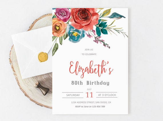 Floral Birthday Invitation For Women 80th