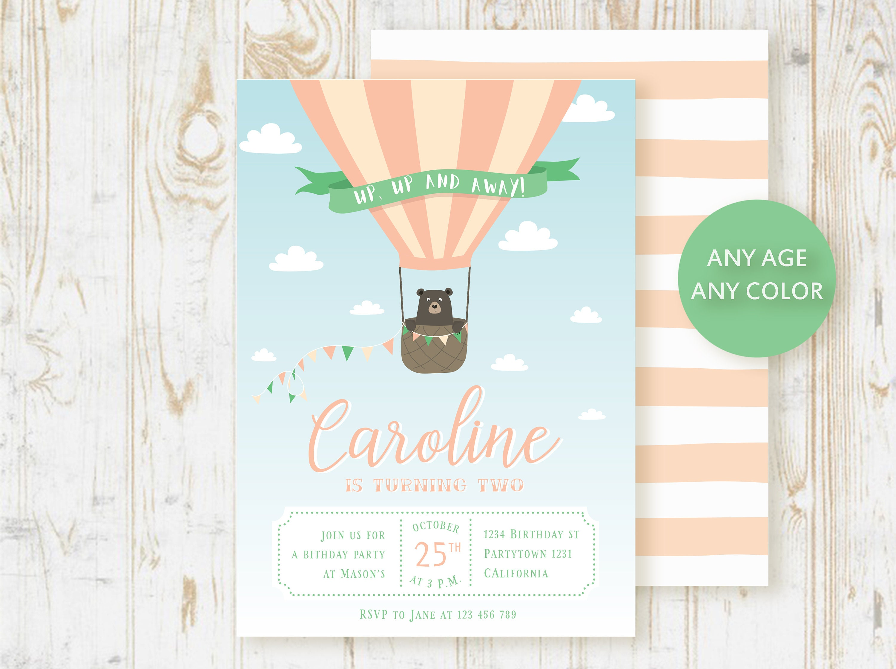 Hot air balloon invitation up up and away invite pink blush etsy image 0 filmwisefo