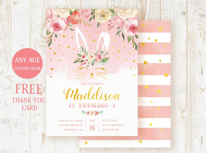 Bunny Birthday Invitation Girl Invite