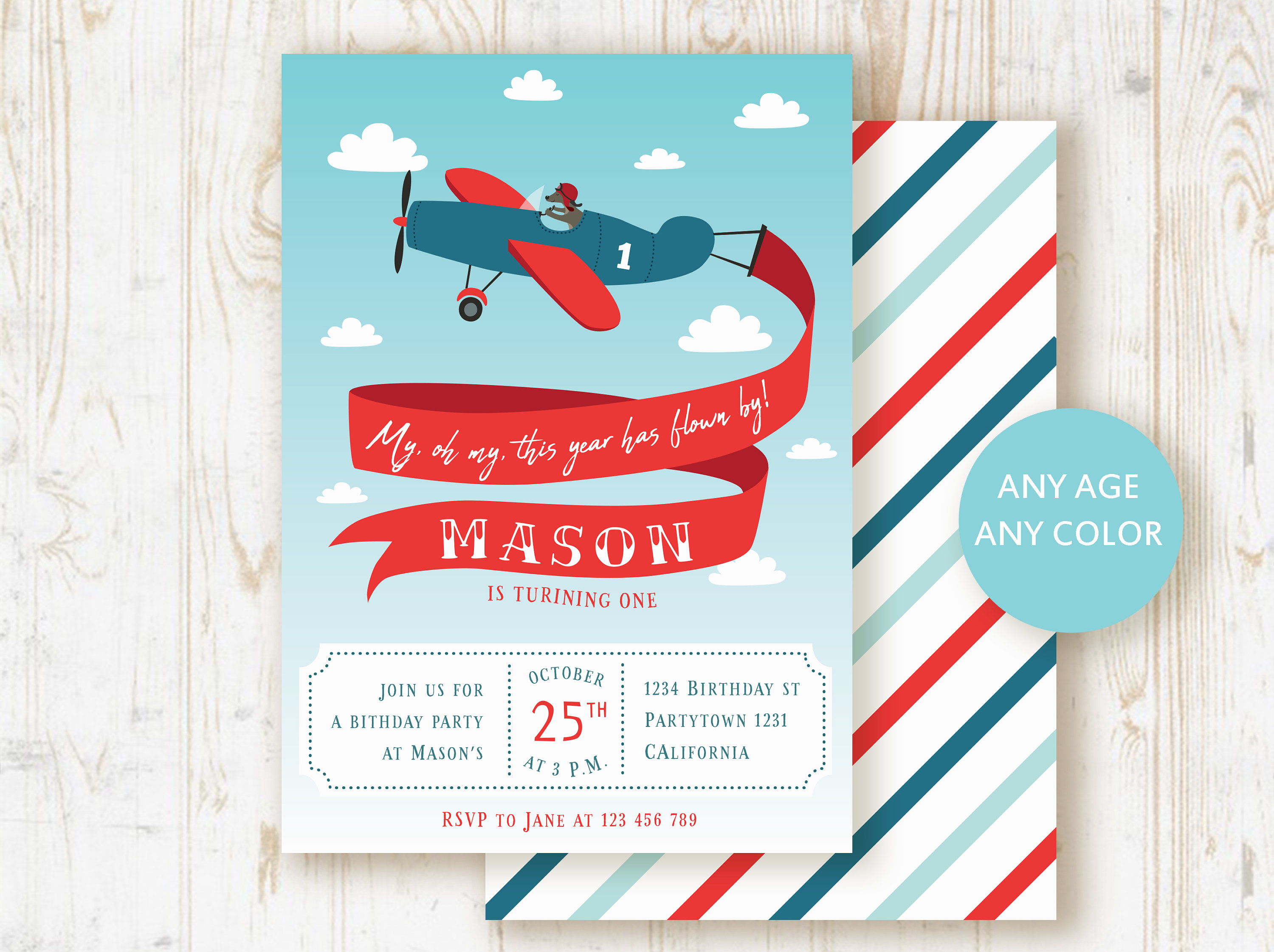 Airplane birthday invitation Airplane invitation Time flies | Etsy