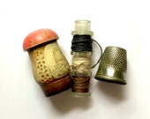 Antique Thimble Holder Sewing Etui Kit From Europe, Vintage Sewing Notions, Sewing Ephemera, Vintage Sewing Collectibles
