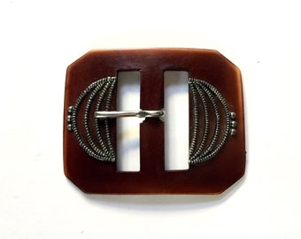1950/'s Black French Casein Art Deco Double Buckle Vintage Buckles