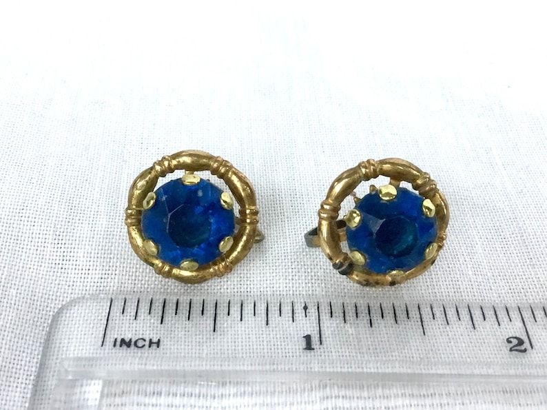 1940s Antique Gold Button Earrings Rhinestone Statement Earrings Vintage Bridal Earrings Gold Earrings Gift For Mom Earrings For Wedding
