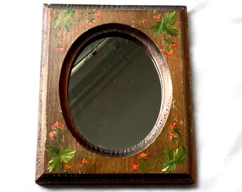 Rustic Wall Mirror, Small Wall Mirror With Flower Design, Vintage 1940s, Hand-painted, Wood Frame Mirror,