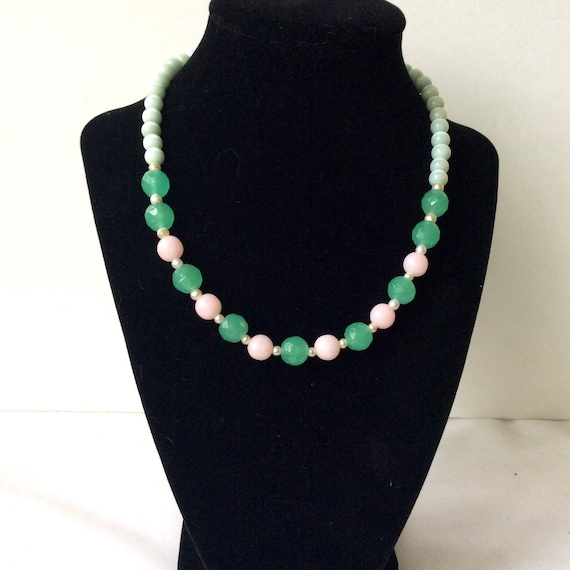 Glass Bead Necklace Green Pink Bridal Necklace Wedding Necklace Vintage Necklace For Mother\u2019s Day Gift Bead Necklace Something Old For Bride