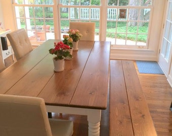 Custom Farmhouse Style Dining Table with Matching Bench