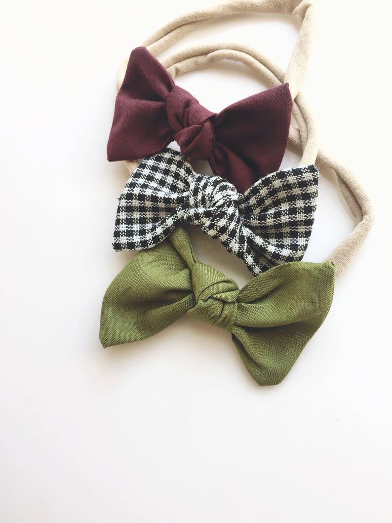 c2ee7f2bc30e Maroon Picnic & Olive Baby Headband Set. Baby Headbands.   Etsy