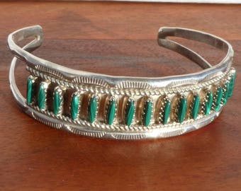 Sterling Silver and Malachite Needlepoint Cuff Bracelet, Signed