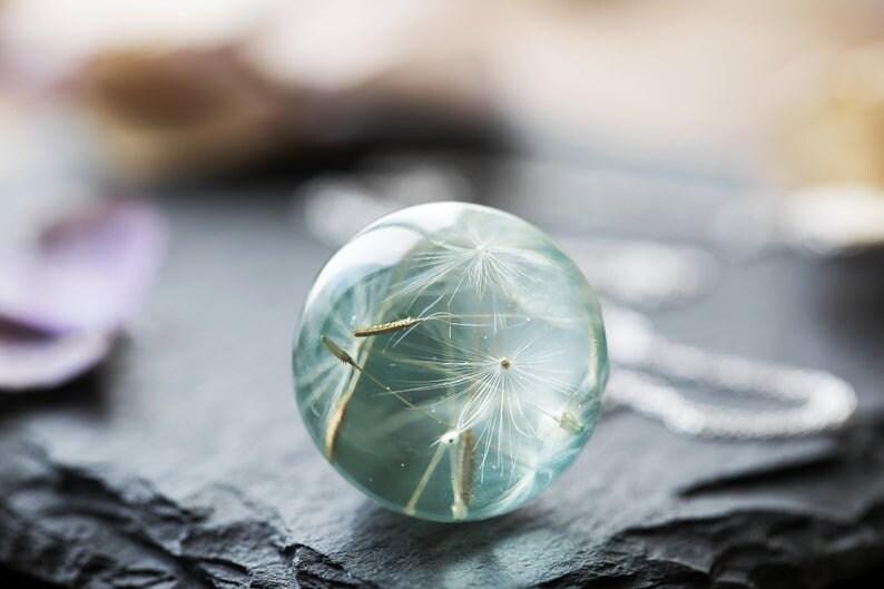 Blue Dandelion Necklace