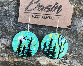 Hand Painted Earrings made from Recycled Airstream Aluminum / Basin Reclaimed / Nature Earrings