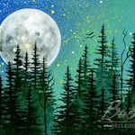 Trees Under a Turquoise Sky - Print of Original Painting