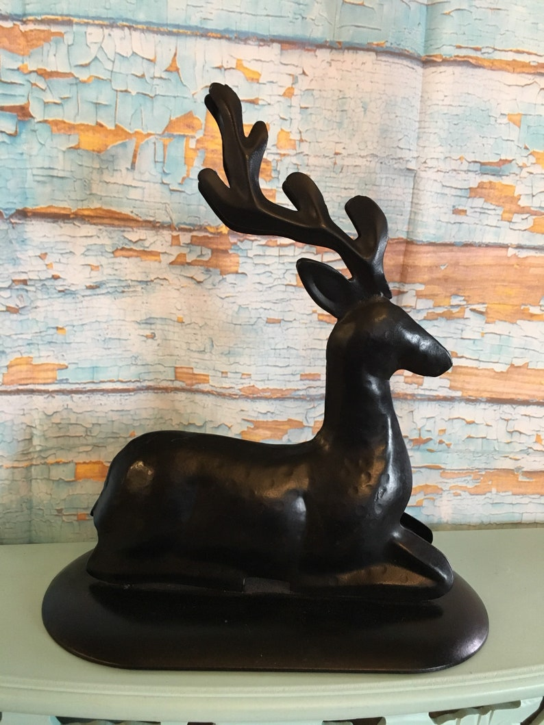 Large metal bronzed antique look deer with antlers stag reindeer christmas centerpiece making supply accessories embellishments mantle decor