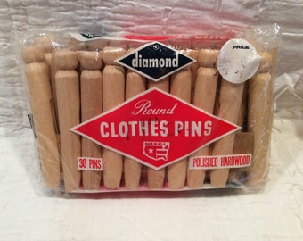 Vintage round hard wood clothes pins, in original package, made in the USA, 30 count, like new