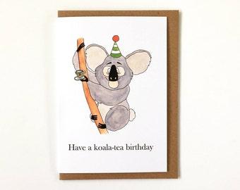 Koala card etsy have a koala tea birthday puns humour happy birthday greetings card koala bear m4hsunfo