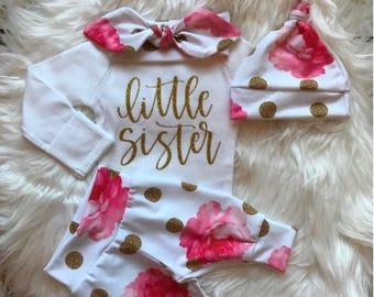 BABY GIRL Coming Home Outfit/Newborn Girl Coming Home Outfit/Baby Girl/Baby Shower Gift/Baby Girl Clothes/New Mom Gift/Newborn Romper/Hat