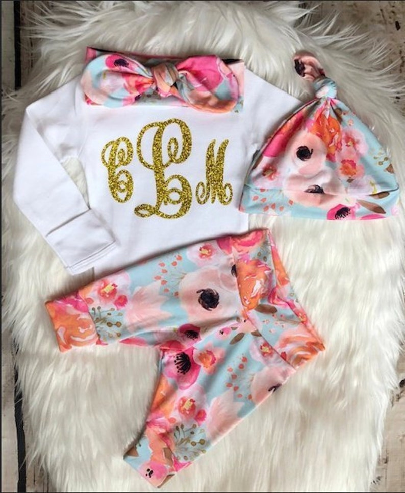 48e3a3fc5ddbe Newborn Girl Coming Home Outfit/Baby Girl Coming Home Outfit/Expecting Mom  Gift/Baby Headband/Monogrammed/Clothes/Baby Shower Gift/Leggings