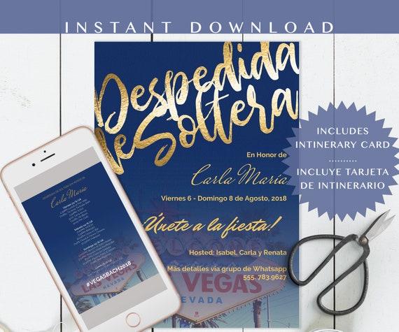 Despedida De Soltera Invitation Despedida Invitacion Las Vegas En Español Bachelorette Party Invite Spanish Diy Invitacion Para Whatsapp