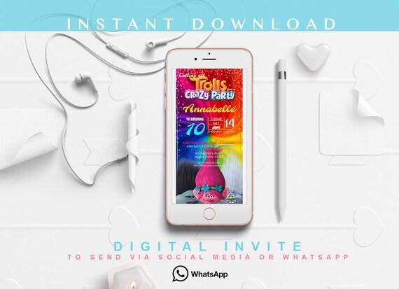 Trolls birthday invitation digital invitation social media stopboris Images