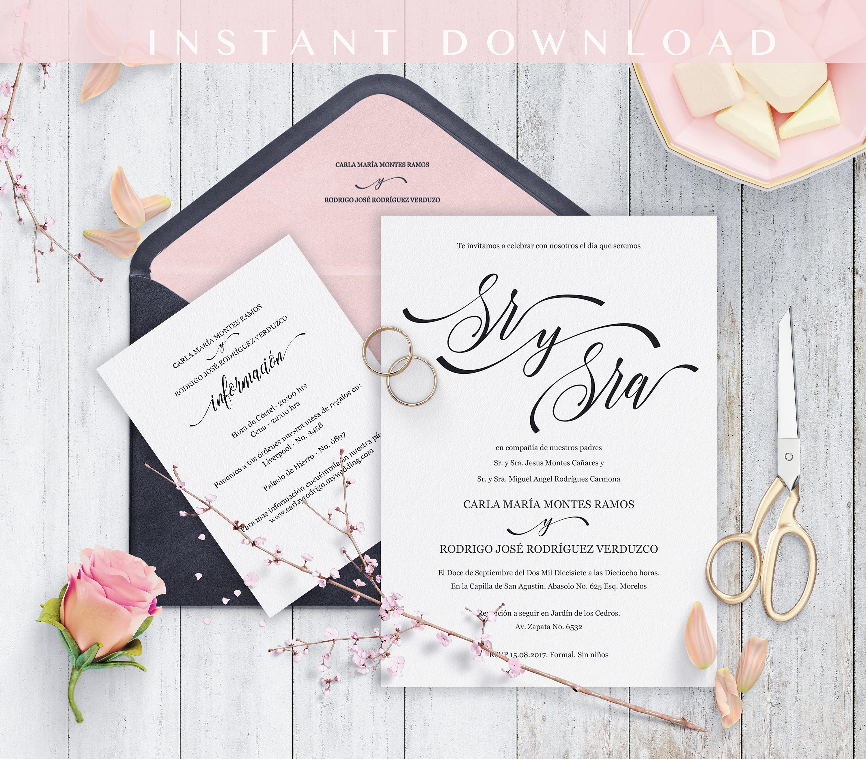 Spanish Wedding Invitations: Spanish Wedding Invitation Invitaciones De Boda Printable