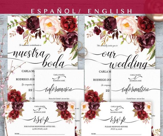Spanish Wedding Invitations: Invitaciones De Boda Spanish Wedding Invitation BILINGUAL