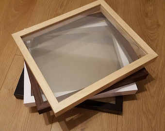 Telaio solo - vetro-vetro flottante cornici - Papercut carta taglio telai, vinile ombra, vetro cornici da foto