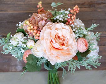 Silk bridal bouquet etsy peach bridal bouquet peach bouquet cream bouquet mint bouquet bouquet wedding flowers silk bridal bouquet bridal bouquet mightylinksfo