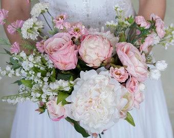 Pink Bridal Bouquet, White Wedding Bouquet, Peony Bouquet, Rose Bouqeut, Silk Bouquet, Wedding Flowers, Pink and White Wedding Bouquets