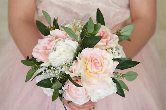 Pink rose bouquet pink bouquet white bouquet pink white etsy image 0 mightylinksfo