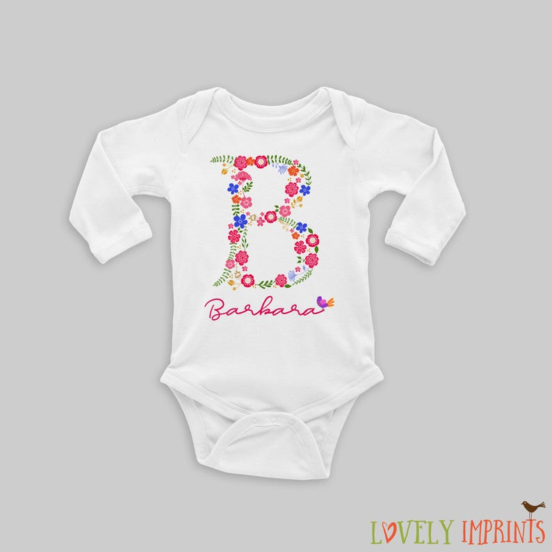 b001d94e3 Unique Initial Baby Girl Bodysuit Personalized Baby Gift Name | Etsy