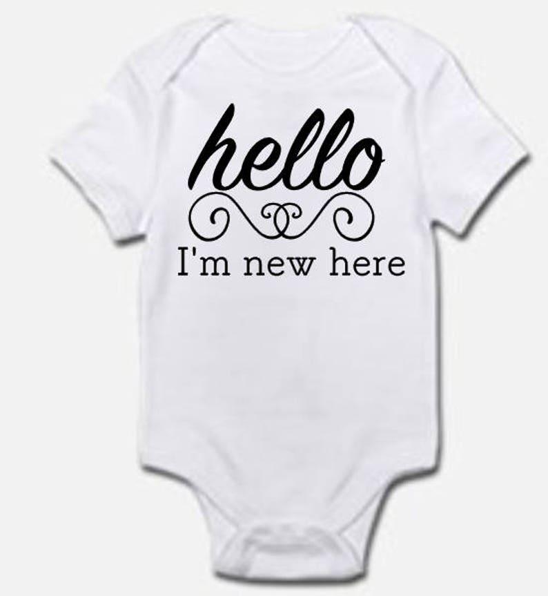 17d675311 Hello I'm New Here Onesie Cute Onesie Baby Onesie   Etsy