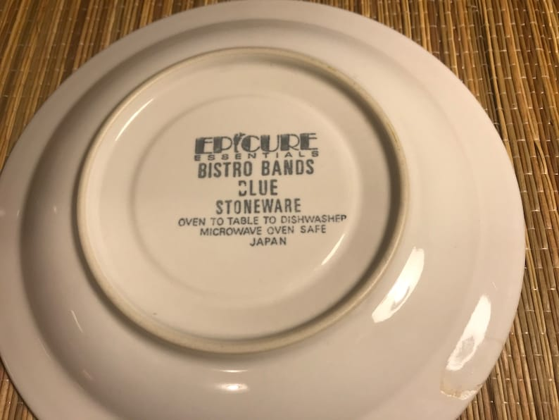 Epicure Essentials Bistro Bands Blue Stoneware Made In Japan About 6.5 Inches